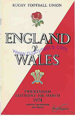 ENGLAND v WALES 1974 RUGBY PROGRAMME 16 MARCH - TWICKENHAM