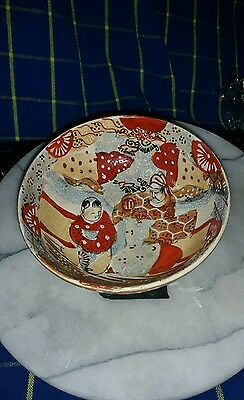 Antique/Vintage Japanese Satsuma Bowl ~Hand-Painted~ 140mm Diam~Unsigned