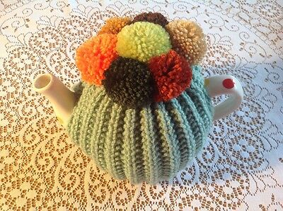 HAND KNITTED TEA COSY - Autumn Pom Poms