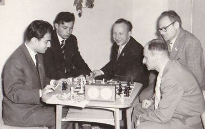 SCHACH: chess olympiad Leipzig 1960 photo and autograph Tal and Koblenz