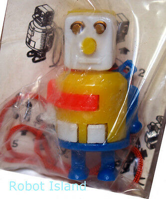 Vintage Robot Keychain Japan Dexterity Puzzle Yellow Body - Gold Eyes!