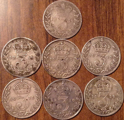 1877 To 1918 Gb Threepence Sterling .925 Silver Some Better Grades 7 Coins