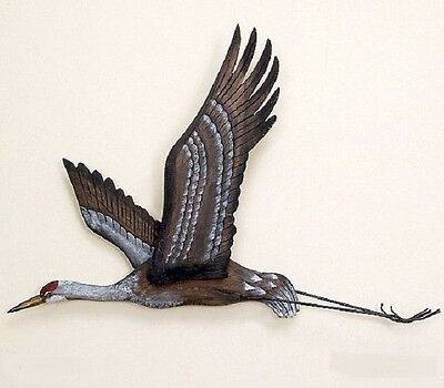 Coastal Art Designs Sandhill Crane Flying Hand Carved Wood Wall Sculpture