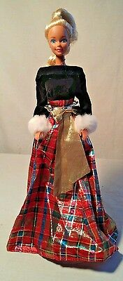 Christmas HOLIDAY SISTERS Barbie DRESS with  Doll - Velvet Top, Plaid Skirt