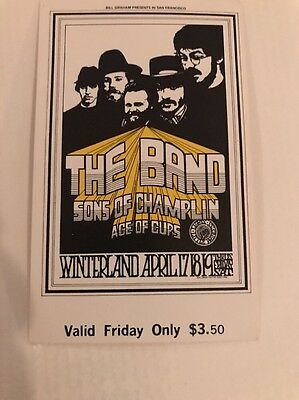 The Band 1st Performance Concert Ticket Fillmore w Receipt For COA