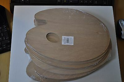 SALE 10 x Wooden Artists Painting Palette ~20cm x 30cm oval with thumb hole