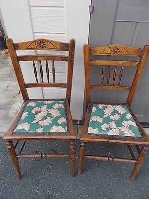 2 Edwardian solid oak hall chairs