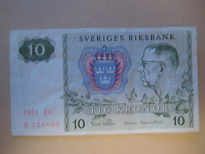 SWEDEN 1963-76 ISSUE - 10 KRONOR 1981 - P52e - CIRCULATED CONDITION