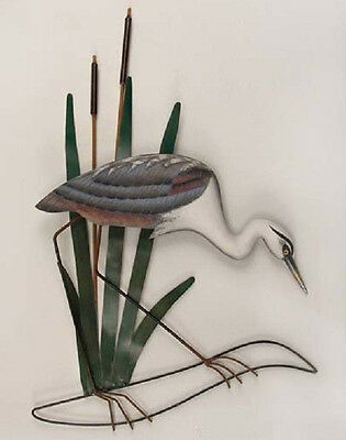 Coastal Art Designs Great Blue Heron Head Down Wood & Metal Wall Sculpture