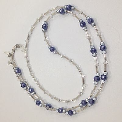 Handmade Beaded Glasses Chain with Blue Miracle Beads, Pearls & Glass Rondelles