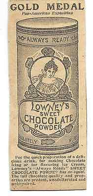 Lowney's Chocolate Powder Orig Ad from 1908 Newspaper Mounted