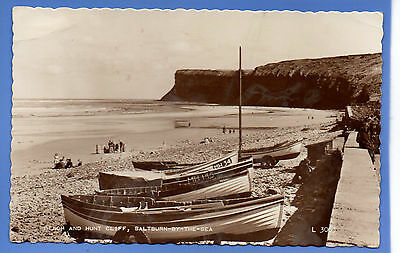 Old Vintage 1959 Rp Postcard Beach & Hunt Cliff Saltburn By The Sea Yorkshire