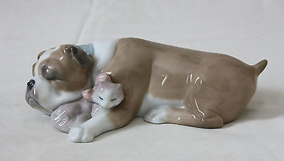 LLADRO PORCELAIN, UNLIKELY FRIEND 6417, BULLDOG and KITTEN, BOXED, PERFECT COND.