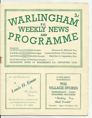Warlingham v Caterham 20.1.51 (Surrey Intermediate League) League)