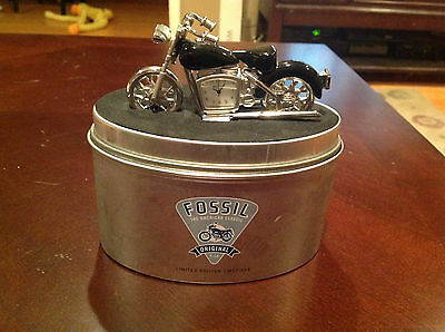 FOSSIL Black/Silver Motorcycle Clock Desk 2004 Limited Edition Chopper