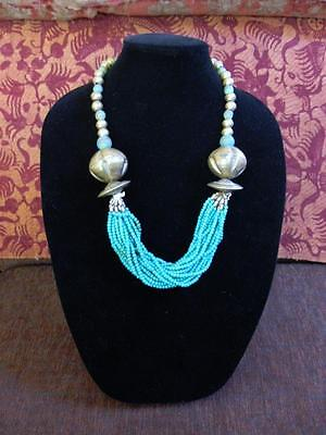 "ETHIOPIAN HARAR BRASS BICONE & SAUCER BEAD NECKLACE 27"" Turquoise Clay Beads"