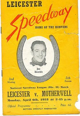Leicester v Motherwell speedway programme - 6/4/53