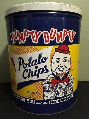 Humpty Dumpty Potato Chips Tin Can Large 3 Lbs Empty Vintage Advertising