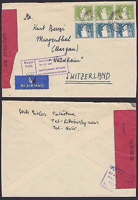 GB Palestine 1940 Used stamps on WWII Censored Airmail to Switzerland......T4962