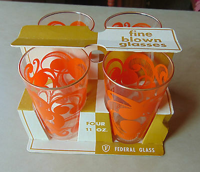 Federal Fine Blown Glass Set of (4) Four in Original Box Packaging Tumblers