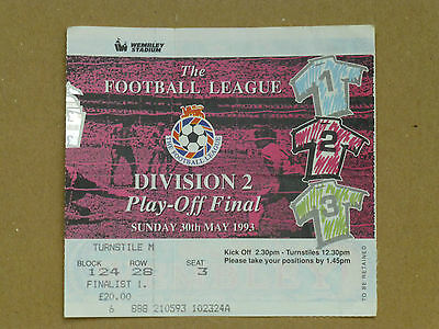 1993 PORT VALE v WEST BROMWICH ALBION - DIV. 2 PLAY OFF TICKET STUB - WEMBLEY