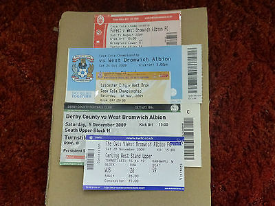 2009-10 5 Listed West Bromwich Albion Ticket Stubs - Championship