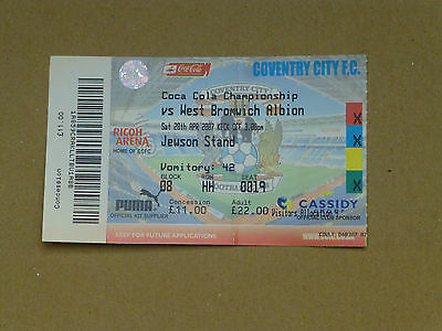 2006-07   COVENRTY CITY v WEST BROMWICH ALBION TICKET STUB