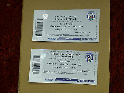 2014 - 2 Listed West Bromwich Albion Ticket Stubs -