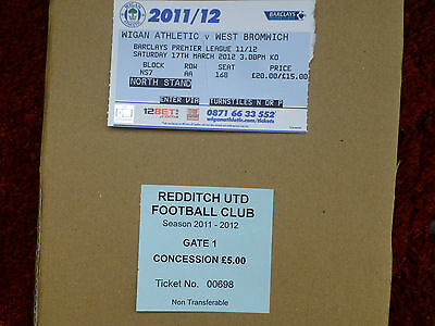 2011-12 - 2 Listed West Bromwich Albion Ticket Stubs