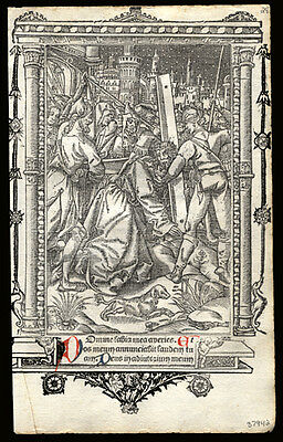 Full Page Miniature The Passion of Our Lord 1506 Book of Hours Leaf Vostre