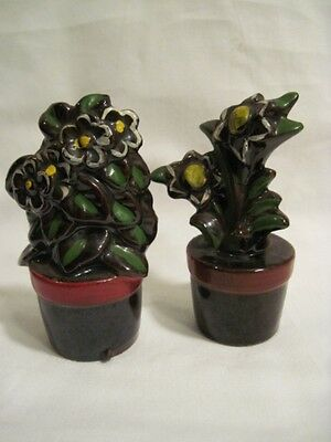 Vintage Redware Brown Yellow Flowers in Flower Pot  Salt and Pepper Shakers