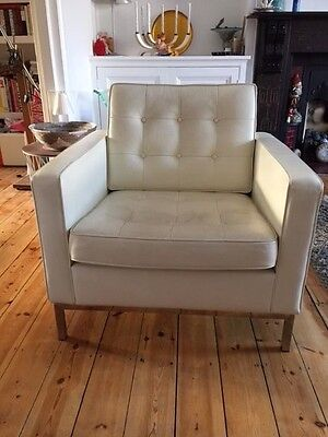 Florence Knoll Inspired - Cream Leather Armchair