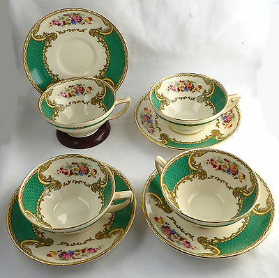 Set 4 MYOTTs STAFFORDSHIRE THE BOUQUET GREEN COFFEE TEA CUPS & SAUCERS