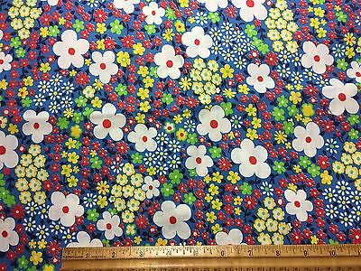 Vintage Cotton Fabric 50s60s CUTE Flower Power Floral 35w 1yd