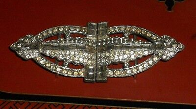 Vintage LG WMCA Art Deco Pot Metal Rhinestone Belt Buckle