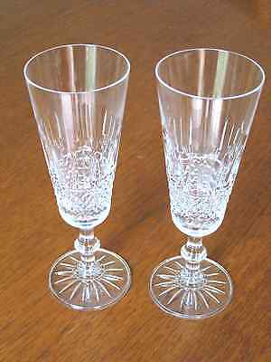Two Stunning Heavy Crystal Champagne Flutes
