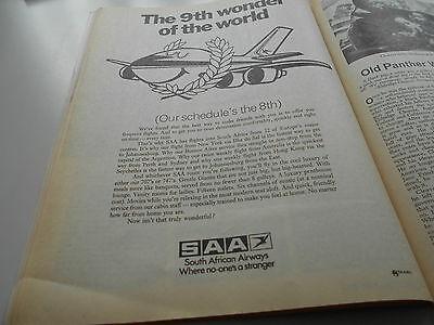 SAA Sout African Airlines Airways advert Werbung Newsweek 1975 March very rare!