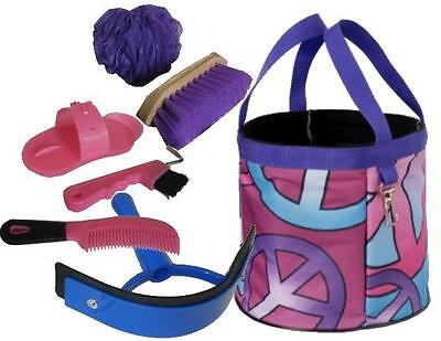 PEACE SIGN Grooming Kit Tote w PINK & PURP Tools Brush Hoof Pick NEW Horse Gift