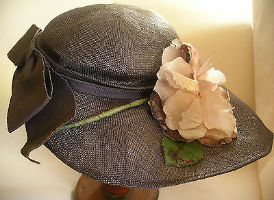 1920s 1930s Ladies Charcoal Black Straw Hat with Pink Flower John Vickers Vtg