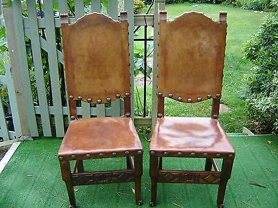 Pair Vintage gothic 30s oak &leather chairs