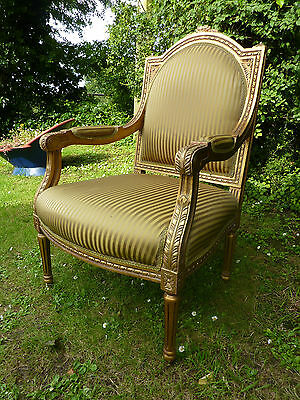 French Louis Style Carved & Gilded Upholstered Armchair Easy Salon Chair