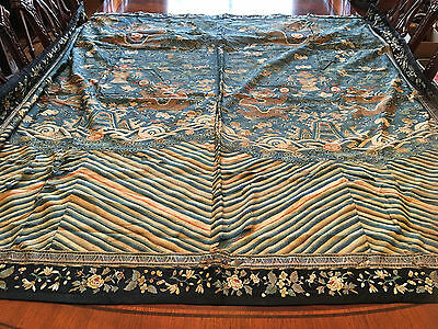 A Large and Rare Chinese Qing Dynasty Kesi Blue Dragon Tapestry.