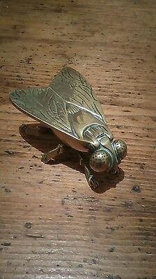 Unusual Retro Brass Fly Ashtray/ Trinket Box - Excellent Condition