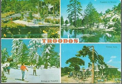 Troodos Mountains, Cyprus - multiview inc skiing, Fereos Cafe - postcard, stamps