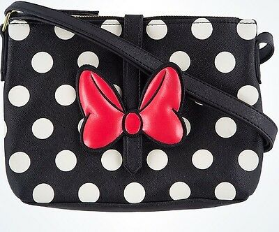 Disney Loungefly Minnie Red Black Dot Striped Crossbody Authentic