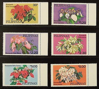 PHILIPPINES, TROPICAL FLOWERS SET OF 6, OVERPRINTED SPECIMEN, issued 1979, MNH