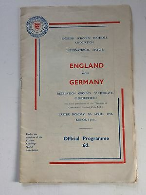 England v Germany 1957-58 (Schoolboy International) played at Chesterfield