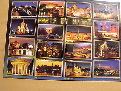 Unposted postcard showing 16 views of Paris by night