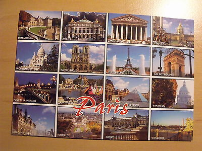 Unposted postcard showing 16 views of Paris
