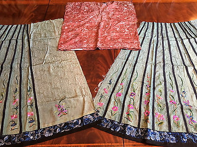 Two Chinese Qing Dynasty Embroidered Silk Skirt Panels and a Undershirt.